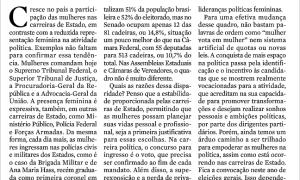 Em artigo na Zero Hora, Ana Amélia aborda baixa participação feminina na política