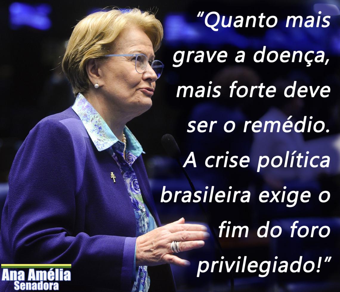 Ana Amélia defende fim do foro privilegiado e considera anistia ao Caixa 2 inadmissível