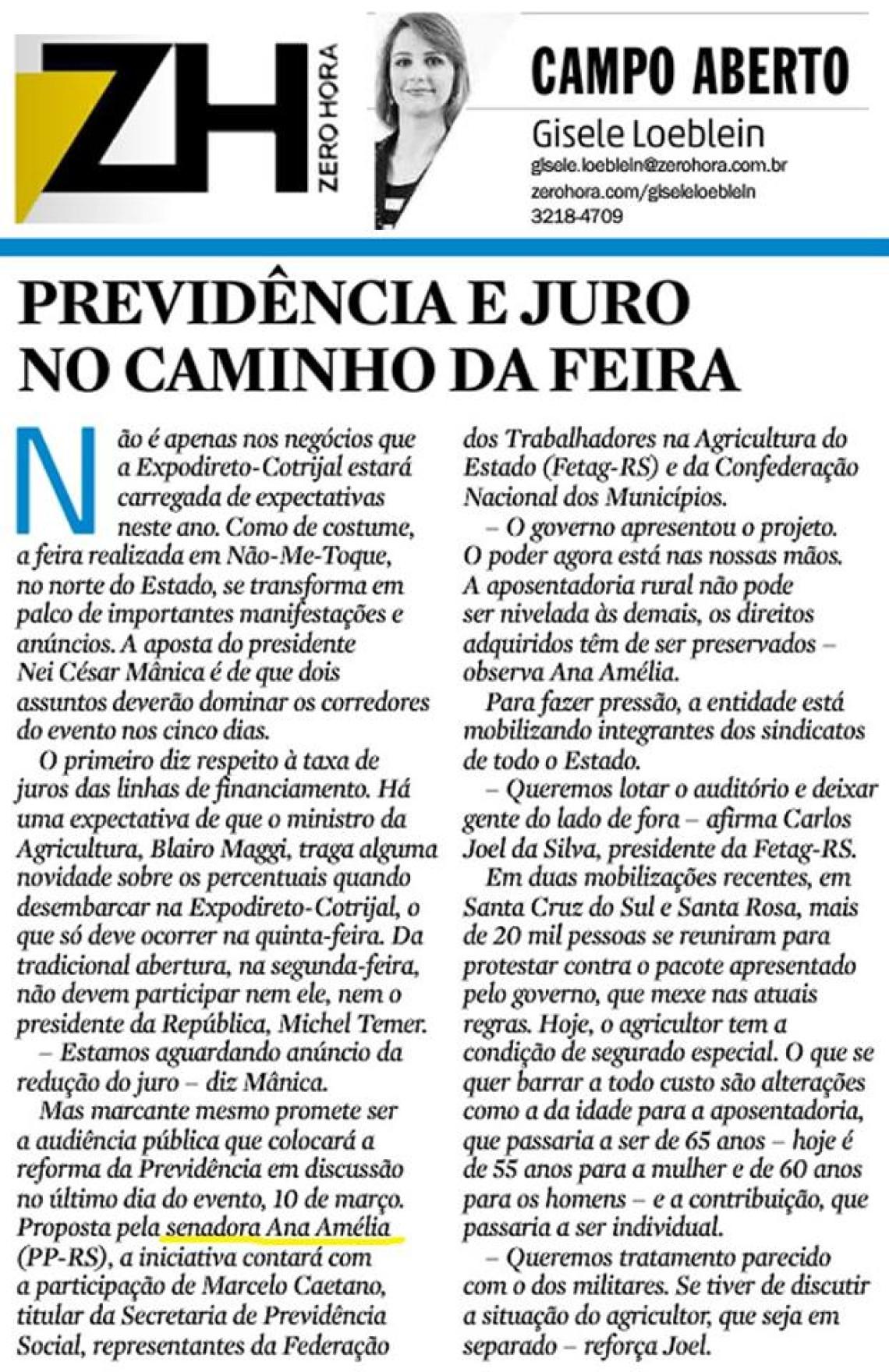 Zero Hora: CAMPO ABERTO - PREVIDÊNCIA E JURO NO CAMINHO DA FEIRA