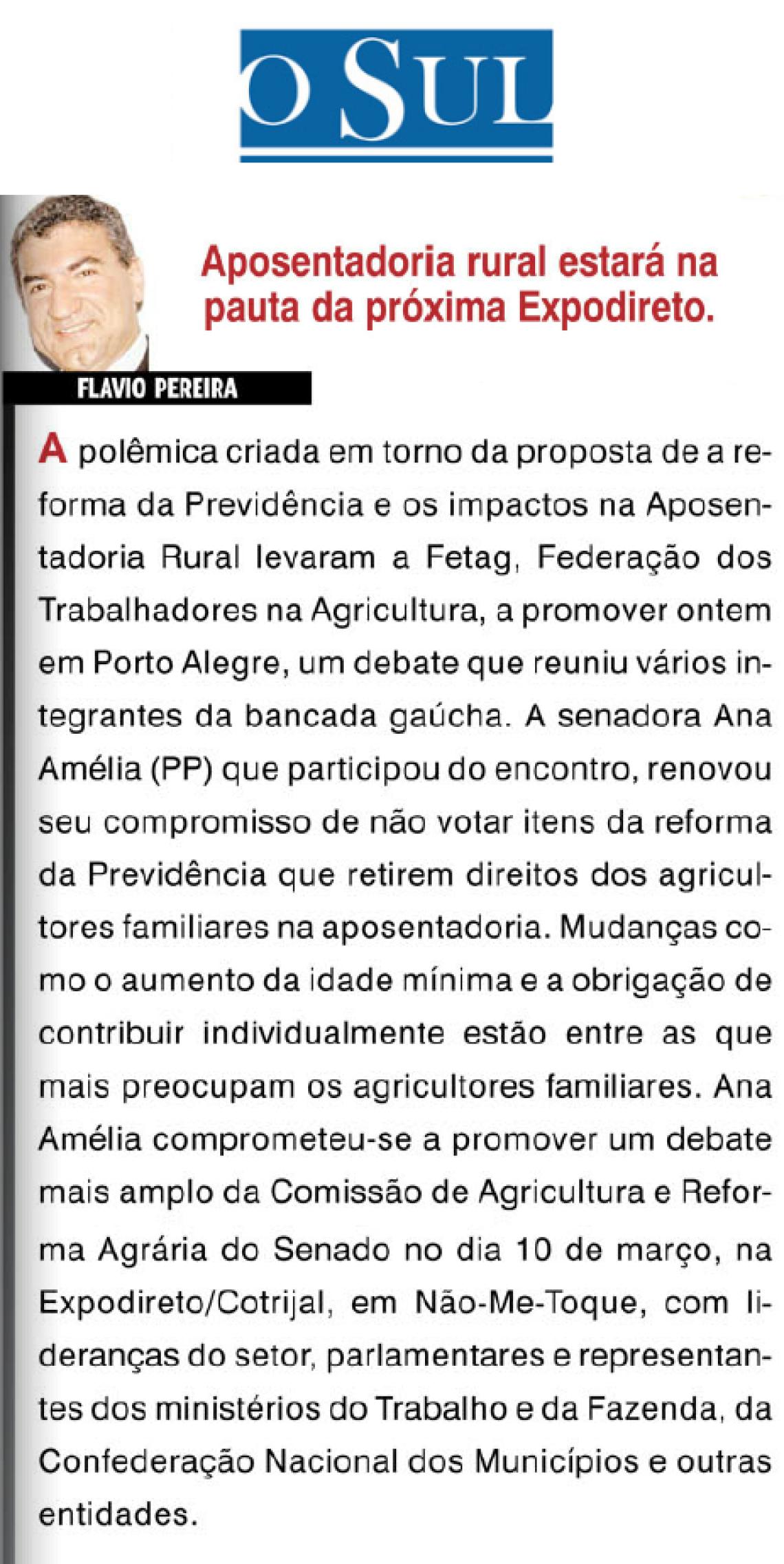O Sul: Flavio Pereira - Aposentadoria estará na pauta da próxima Expodireto