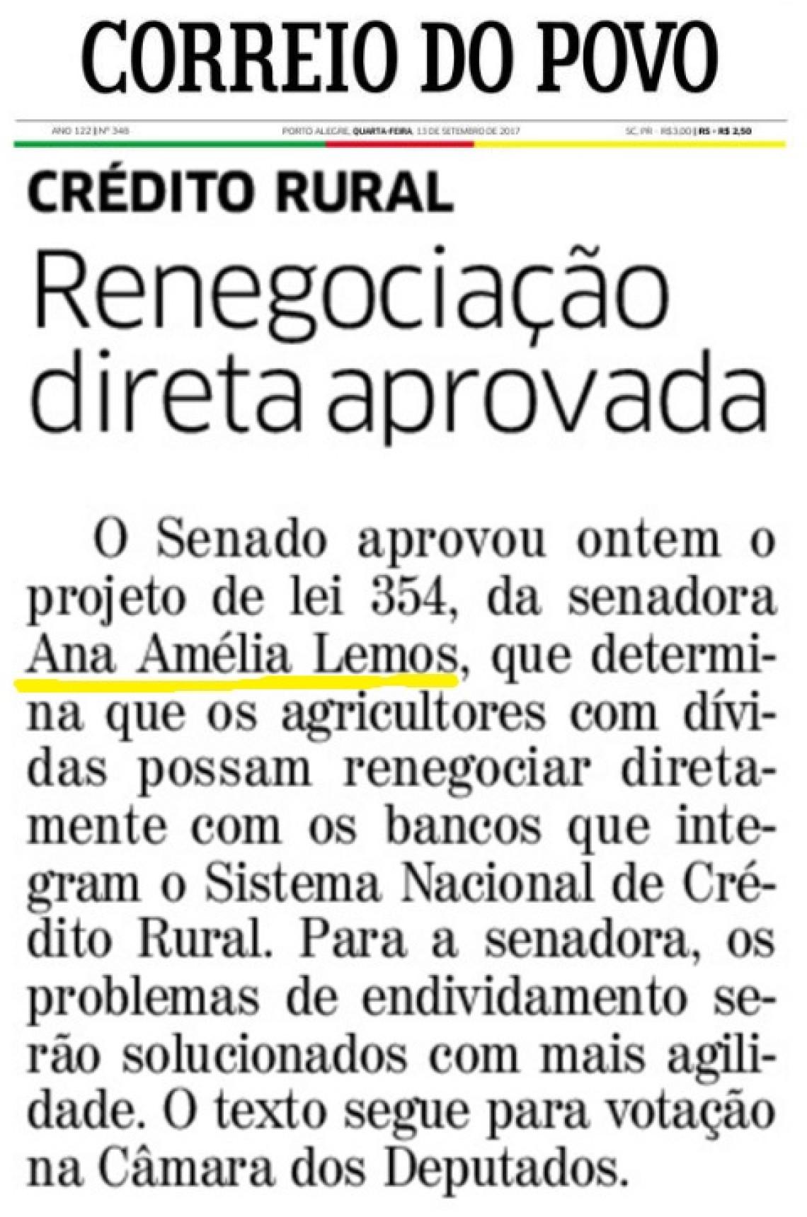 Aprovado projeto que simplifica renegociação do crédito rural