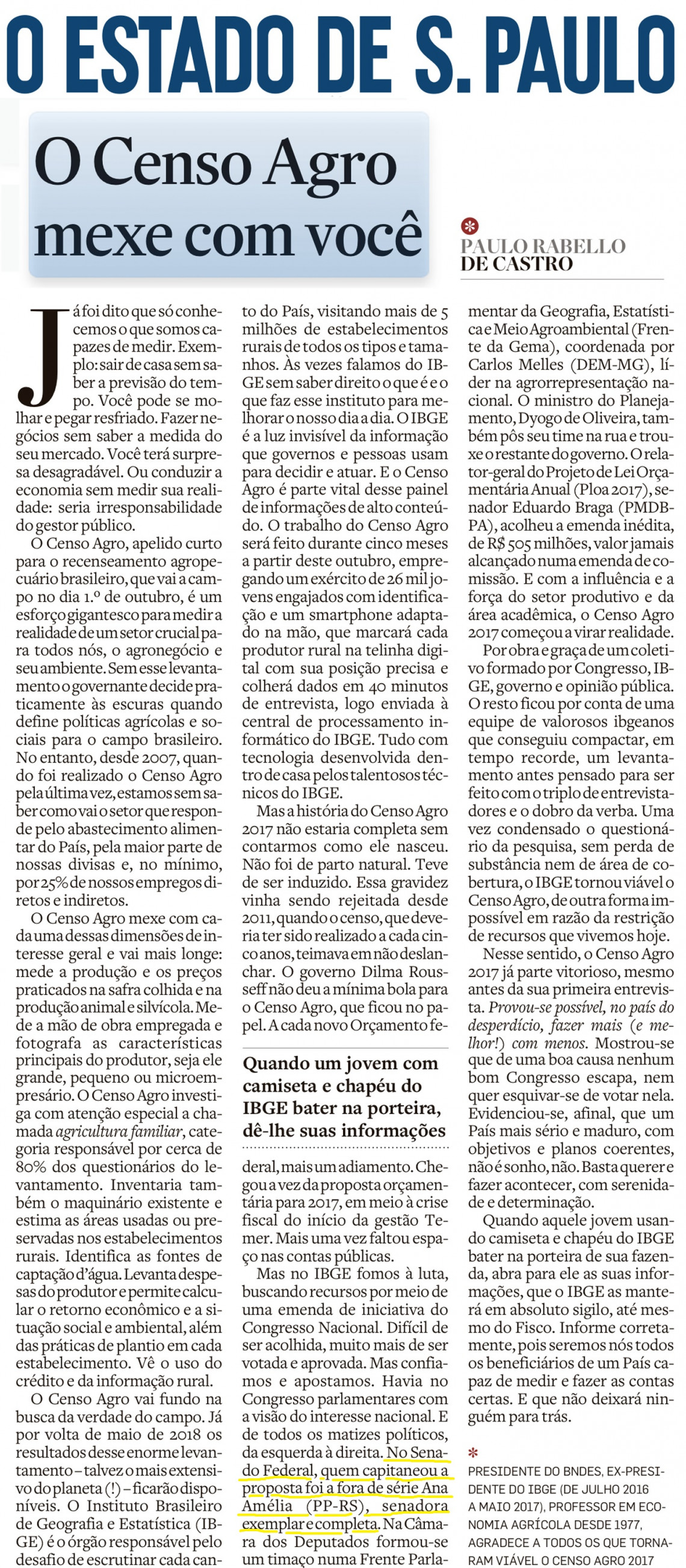 Ex-presidente do IBGE reconhece empenho da senadora para garantir realização do Censo Agropecuário 2017