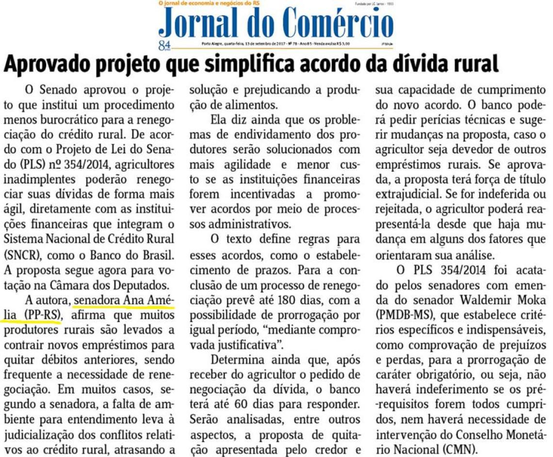 Jornal do Comércio: Aprovado projeto que simplifica acordo da dívida rural
