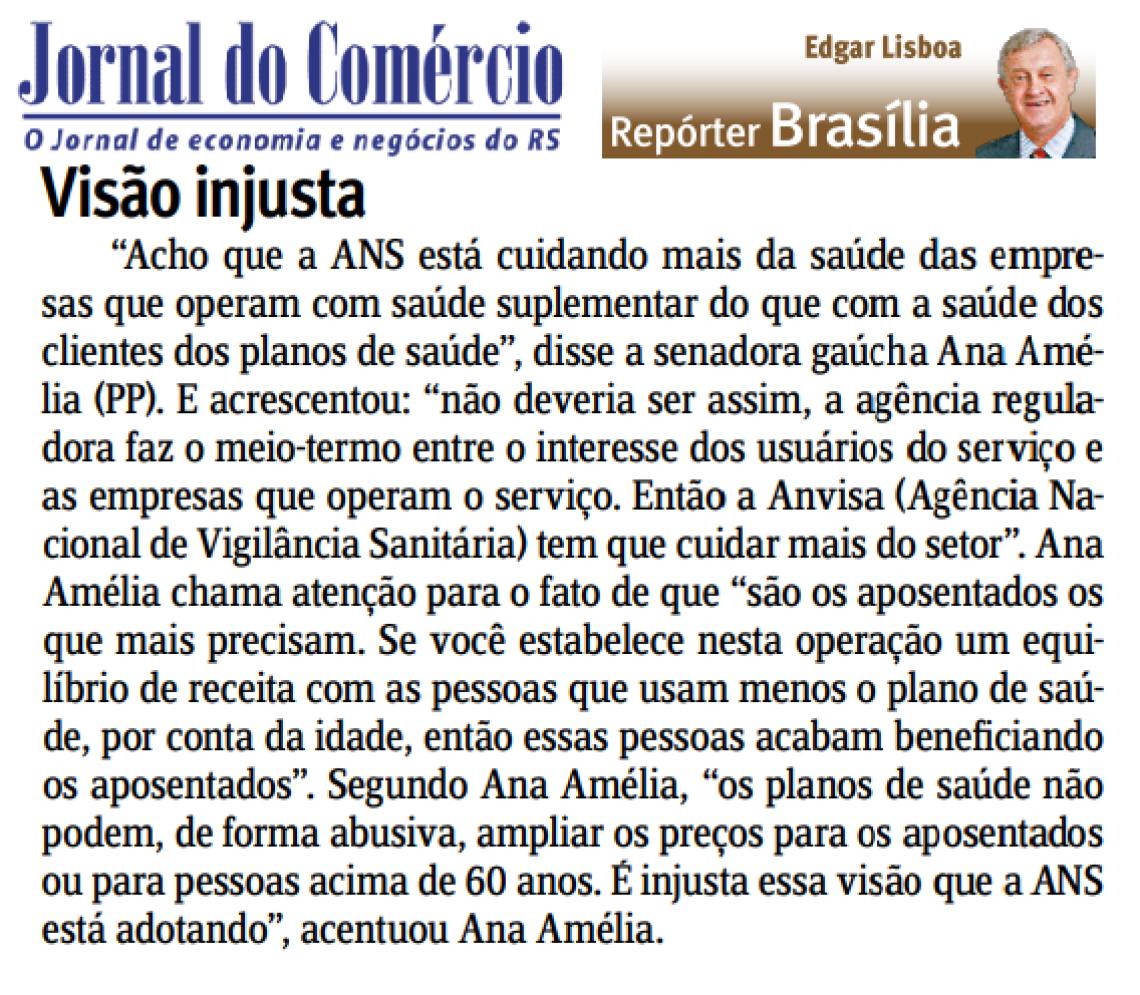 Jornal do Comércio: Edgar Lisboa - Visão Injusta
