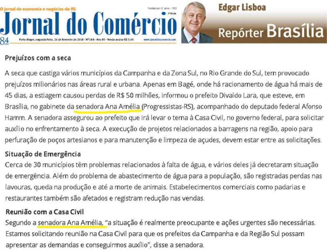 Jornal do Comércio: Edgar Lisboa - Prejuízo com a seca