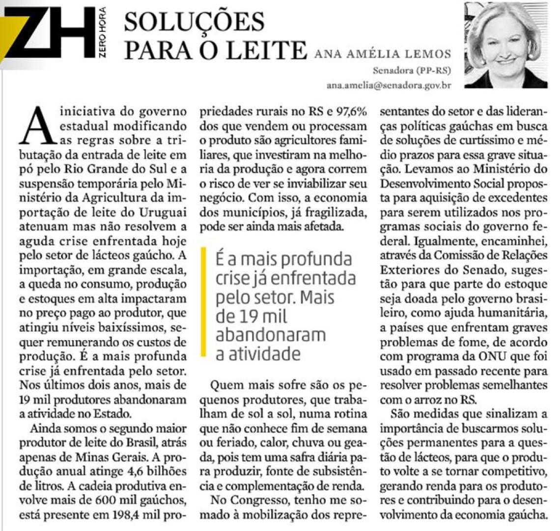 Em artigo no jornal Zero Hora, Ana Amélia aponta soluções para a crise do setor de lácteos gaúcho