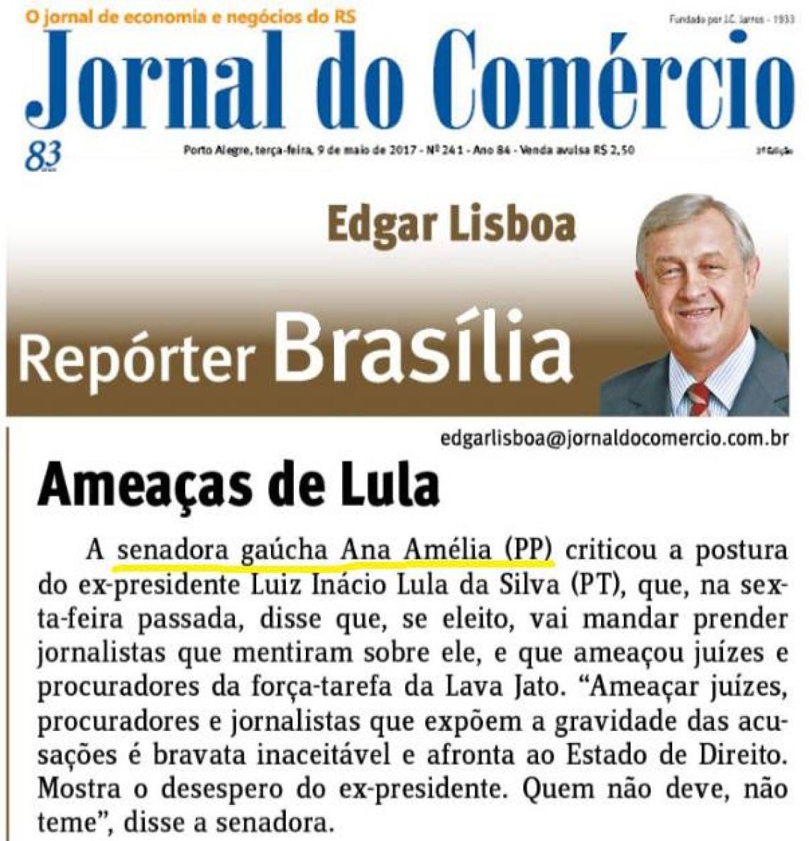 Jornal do Comércio: Edgar Lisboa - Ameaças de Lula