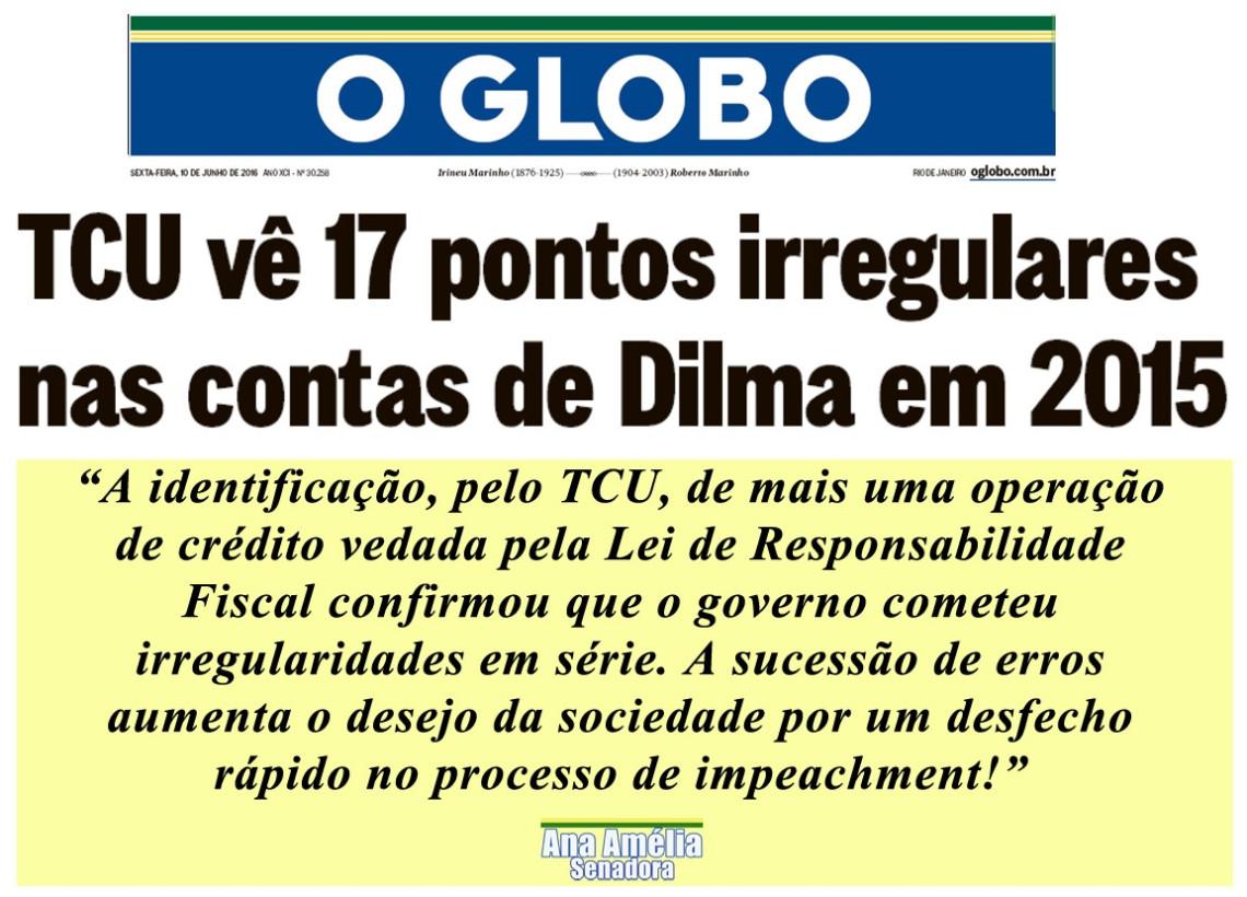TCU vê indícios de irregularidades nas contas de 2015 do governo Dilma, diz jornal