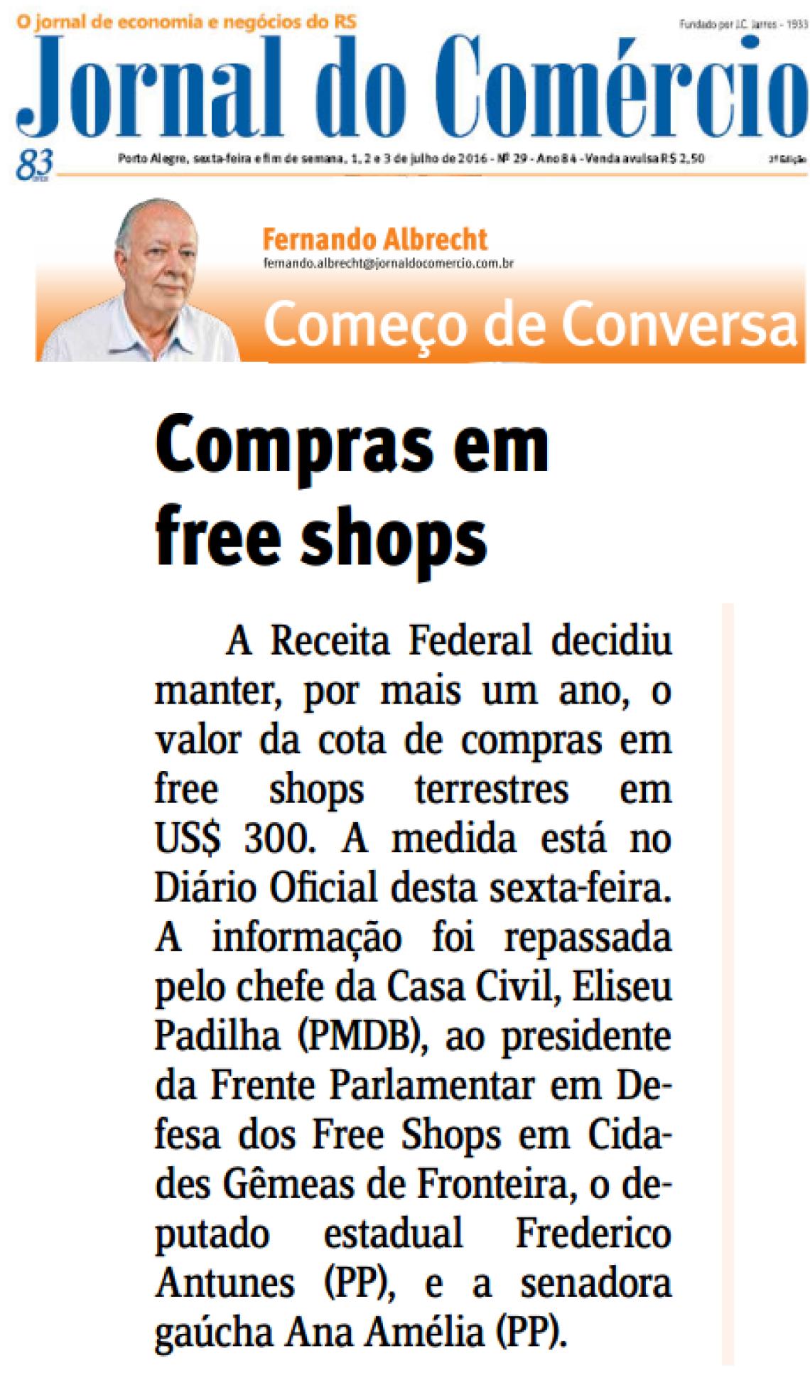 Jornal do Comércio: Fernando Albrecht - Compras em free shops