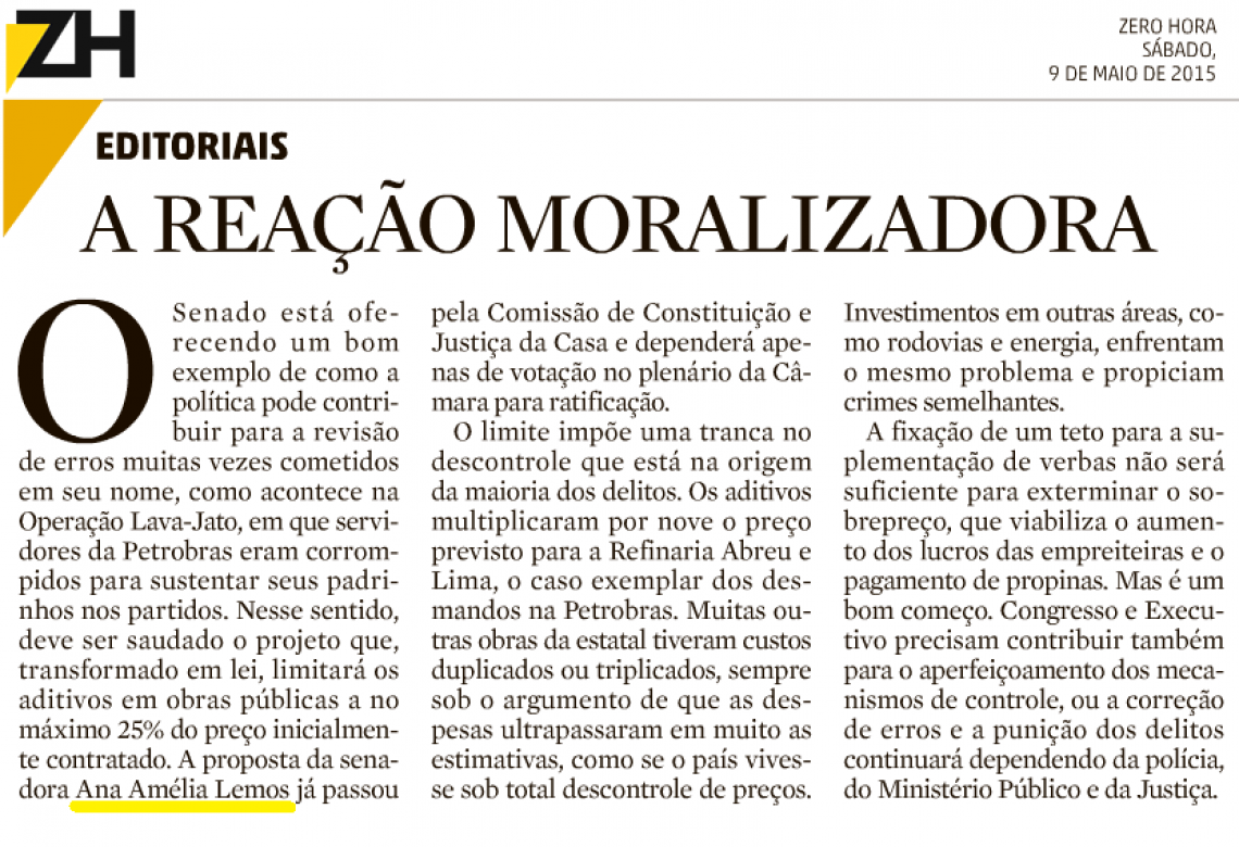 Zero Hora: A REAÇÃO MORALIZADORA