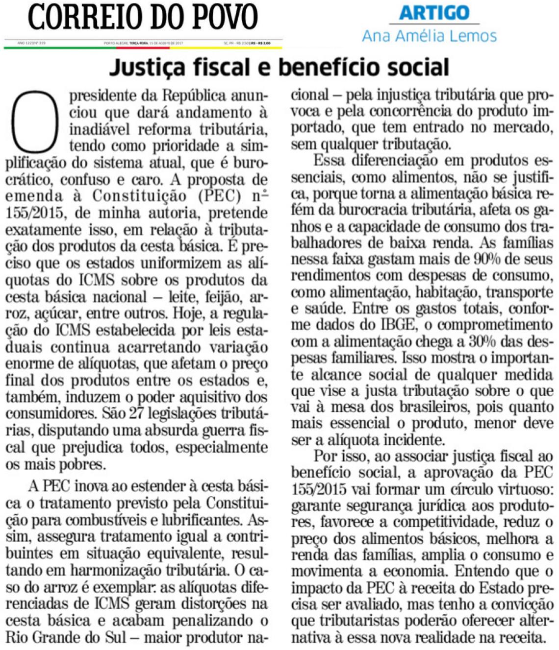 Artigo no Correio do Povo: Justiça fiscal e benefício social