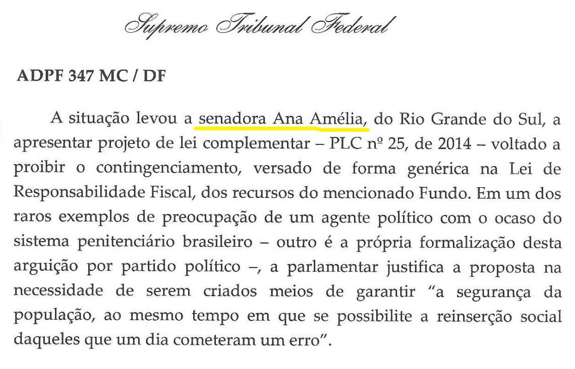 Projeto da senadora é citado em relatório de ministro do STF