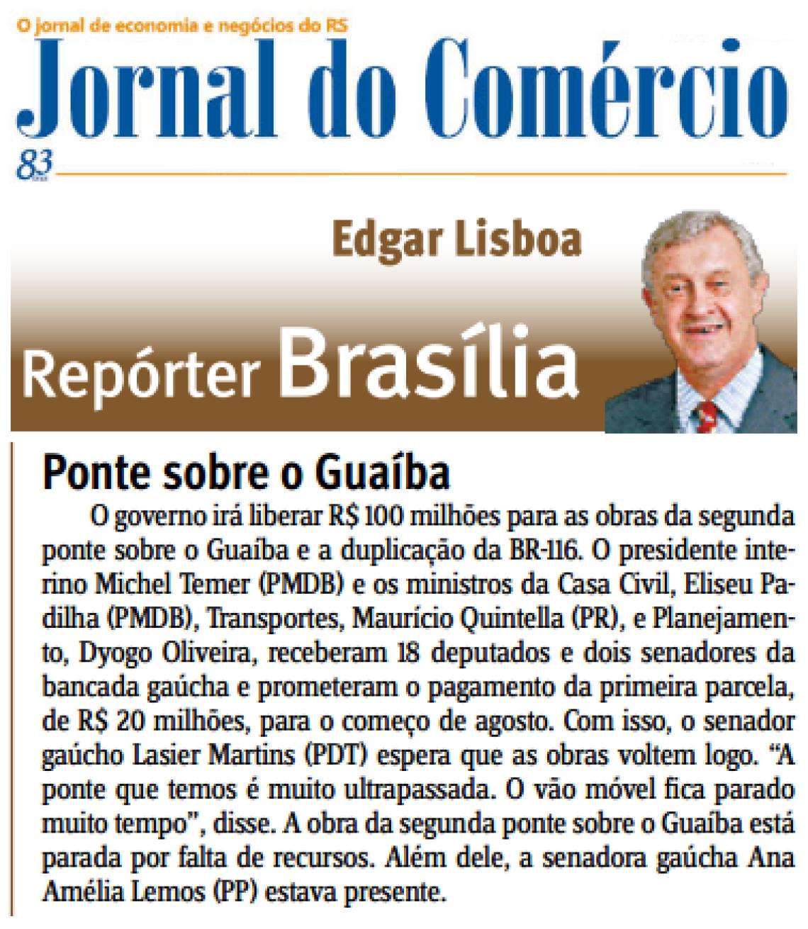 Jornal do Comércio: Edgar Lisboa - Ponte sobre o Guaíba