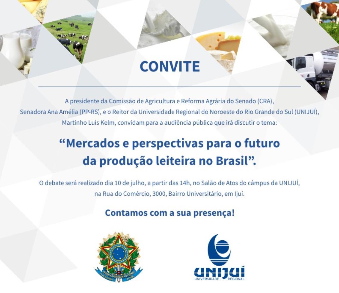 Mercados e perspectivas para o futuro da produção leiteira no Brasil serão debatidos em audiência da Comissão de Agricultura em Ijuí