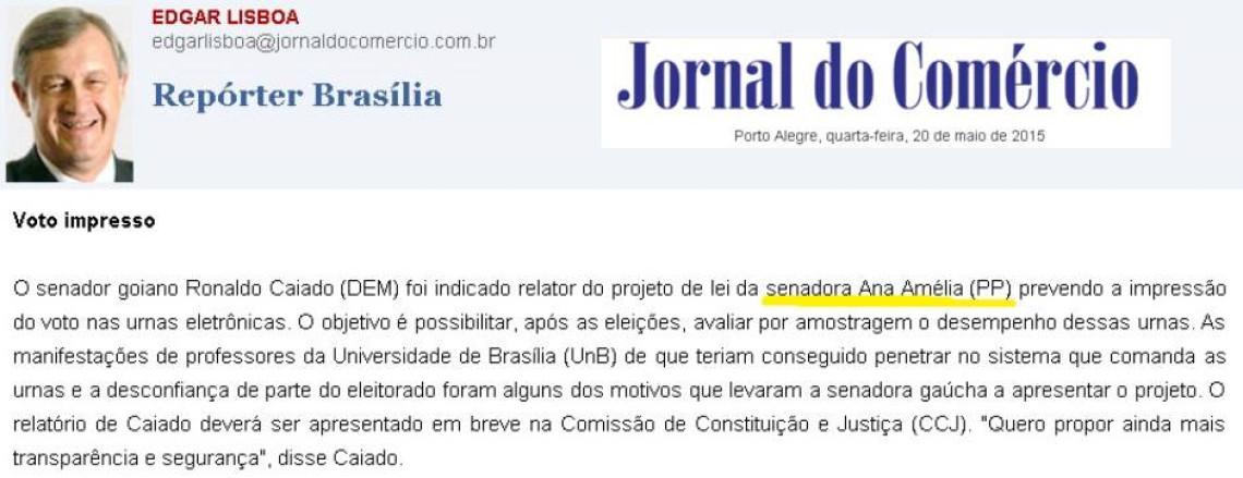 Jornal do Comércio: Edgar Lisboa - Voto impresso