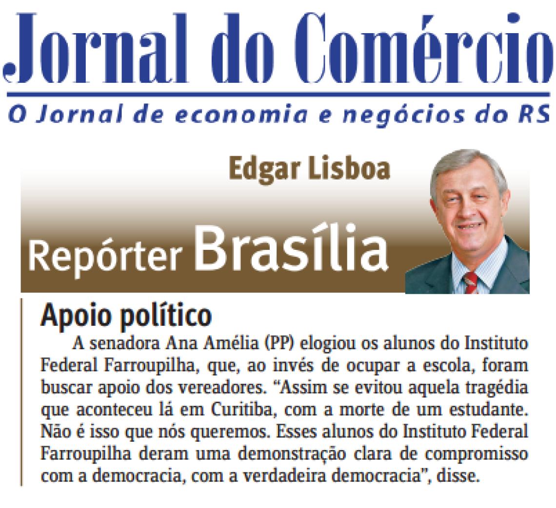 Jornal do Comércio: Edgar Lisboa - Apoio Político