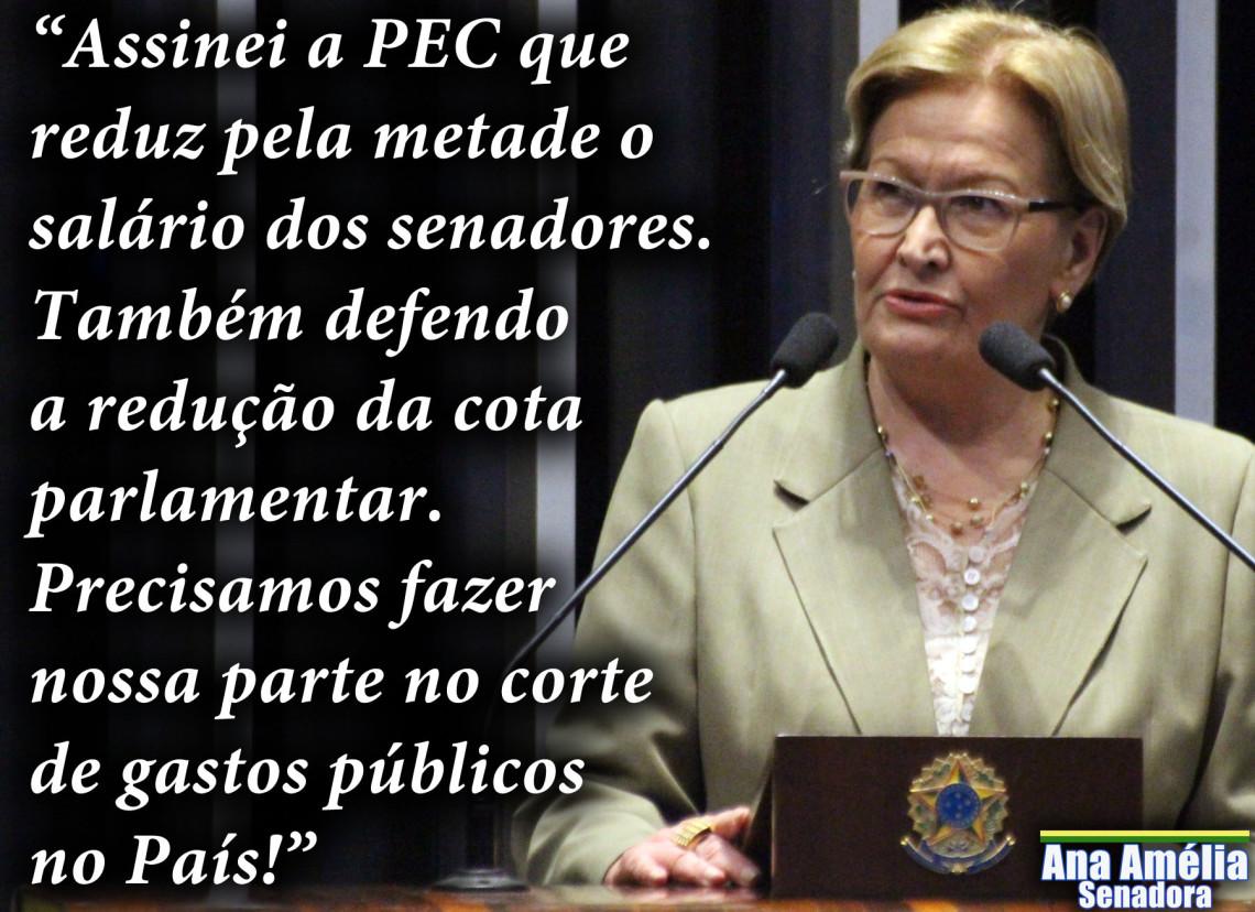 Ana Amélia assina PEC que reduz salário de senadores e defende cortes na cota parlamentar