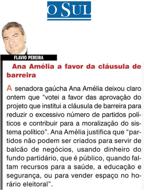O Sul - Flavio Pereira - Ana Amélia a favor da cláusula de barreira