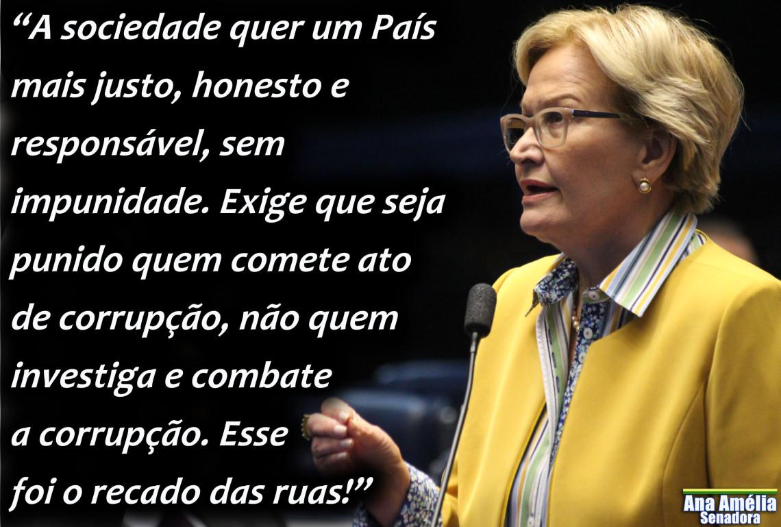 """""""Sociedade quer punição aos corruptos e não punição a quem investiga os corruptos"""", diz Ana Amélia"""