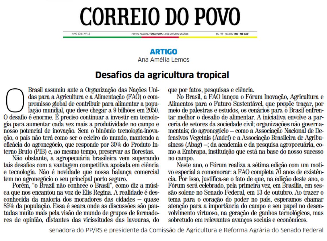 Correio do Povo: Desafios da agricultura tropical