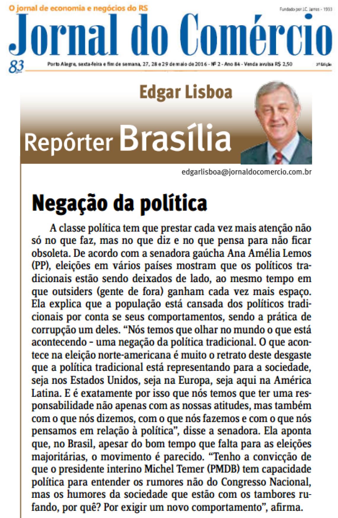 Jornal do Comércio: Edgar Lisboa - Negação da política