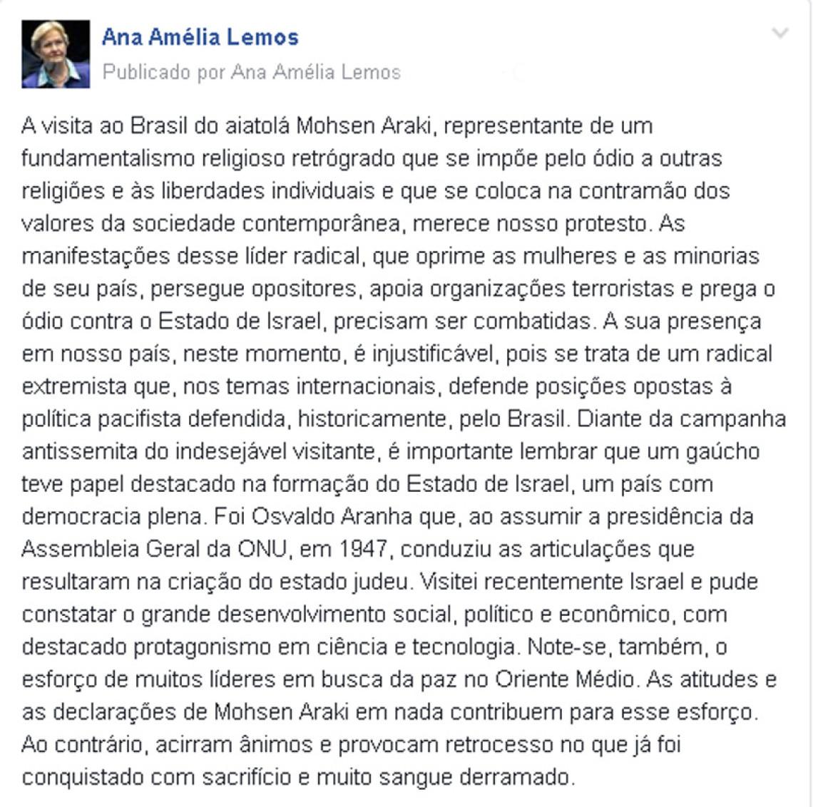 Ana Amélia critica vinda do Aiatolá Mohsen Araki ao Brasil