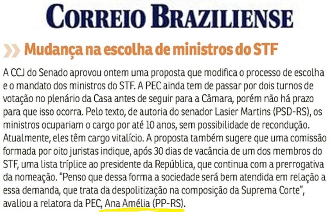Jornais, sites e blogs destacam aprovação da proposta que altera escolha de ministros do STF