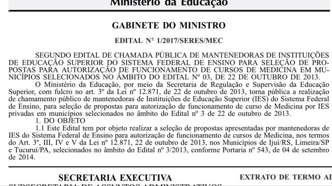 Publicado edital para implementação do curso de medicina em Ijuí