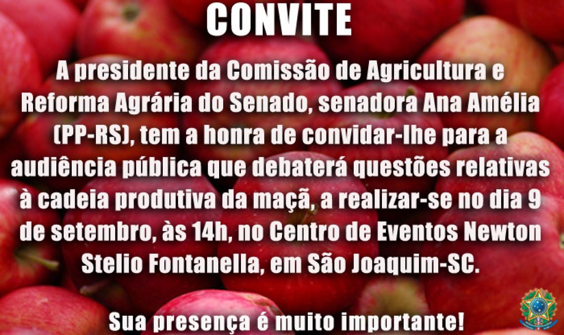 Cadeia produtiva da maçã será tema de debate do Senado em São Joaquim dia 9 de setembro