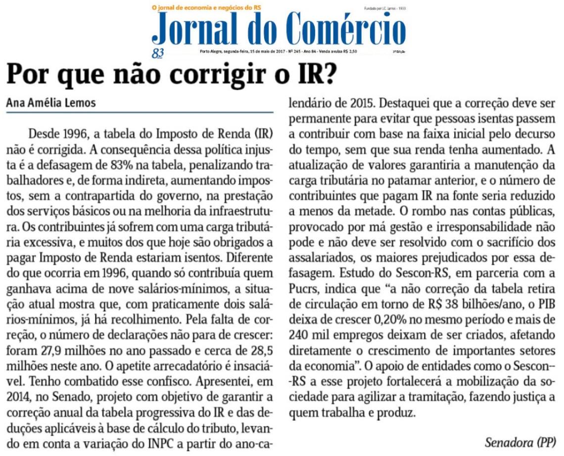 Em artigo no Jornal do Comércio, Ana Amélia destaca necessidade de corrigir a tabela do imposto de renda