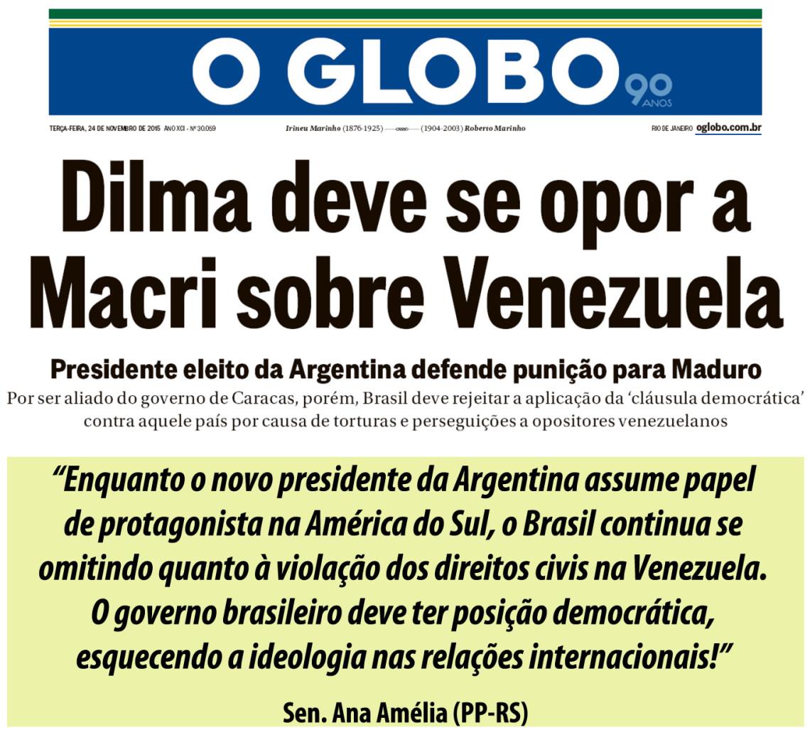 Ana Amélia diz que vitória de Macri é chance para solucionar problemas comerciais com a Argentina