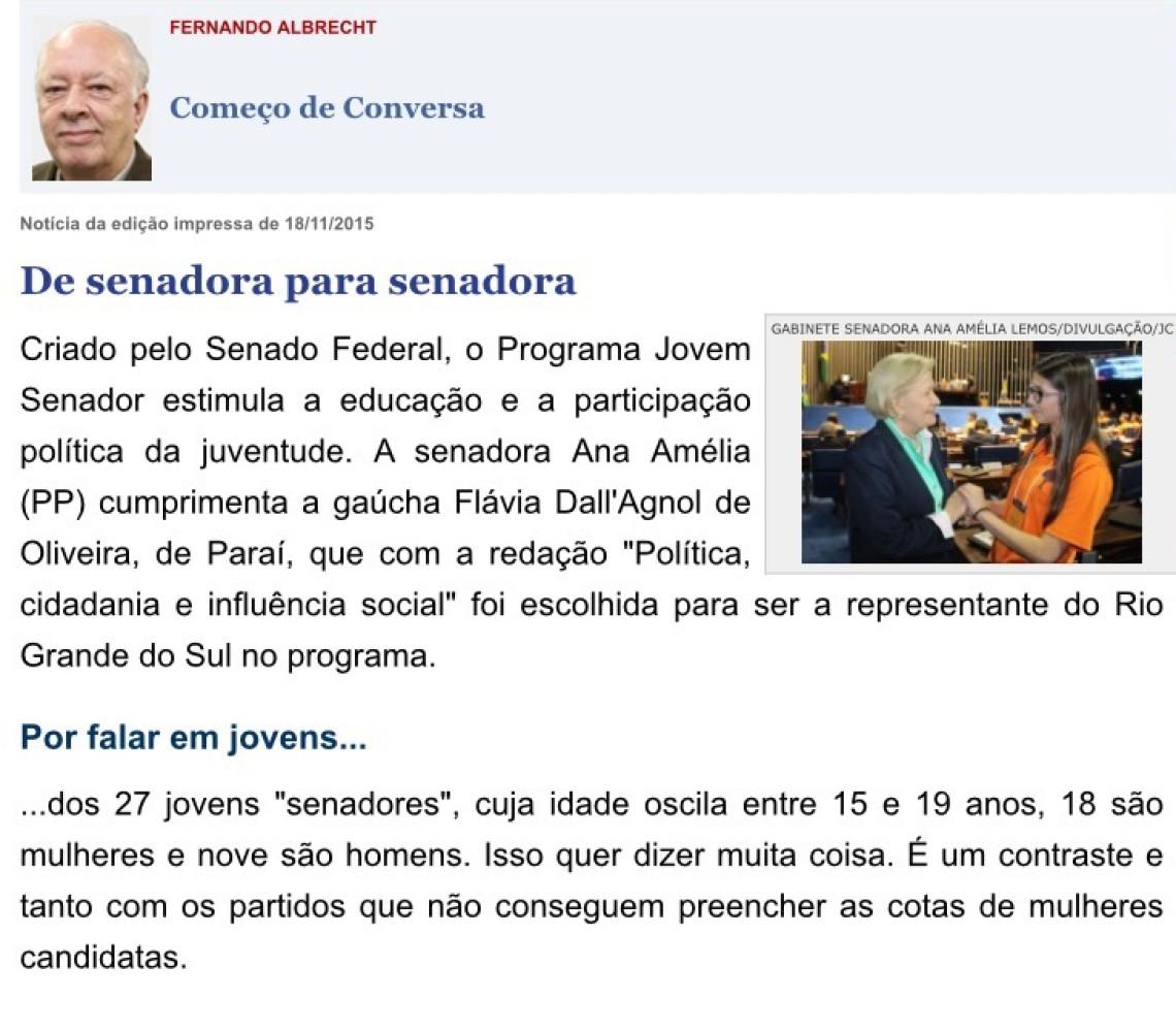 Jornal do Comércio: Fernando Albrecht - De senadora para senadora