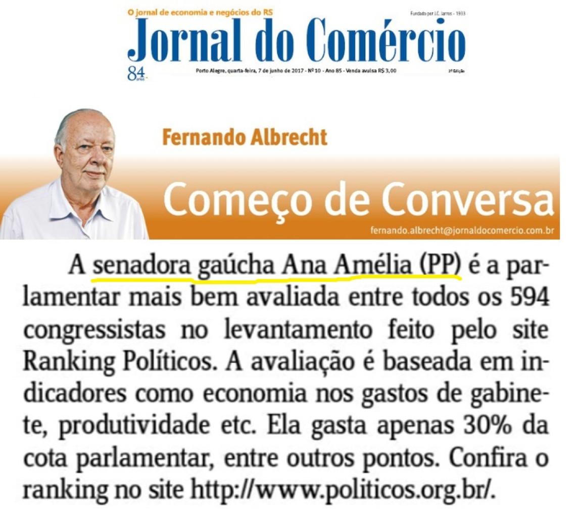 Ana Amélia é avaliada como a melhor parlamentar do Congresso no site Ranking Políticos