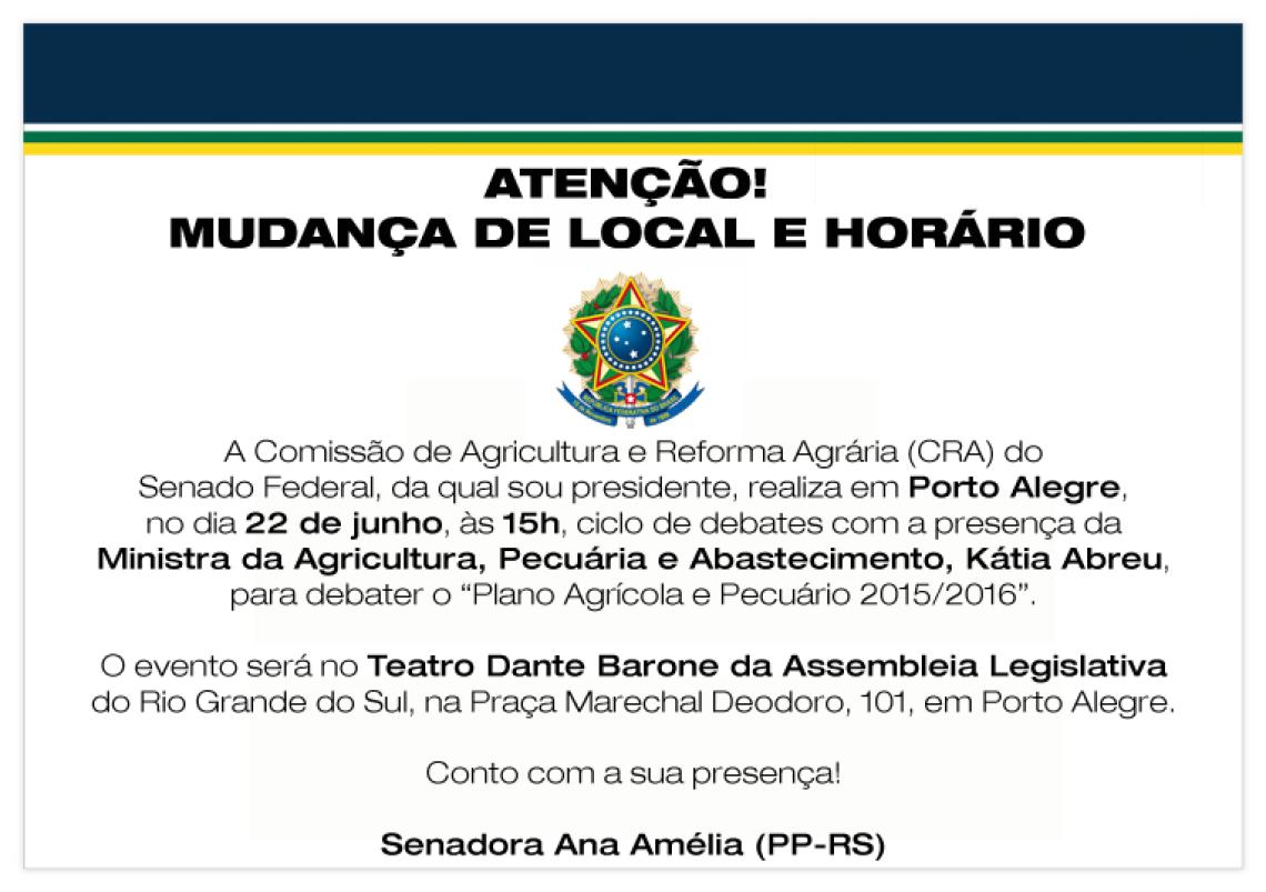 Ministra da Agricultura debate o Plano Agrícola e Pecuário durante audiência do Senado, em Porto Alegre, na Assembleia Legislativa