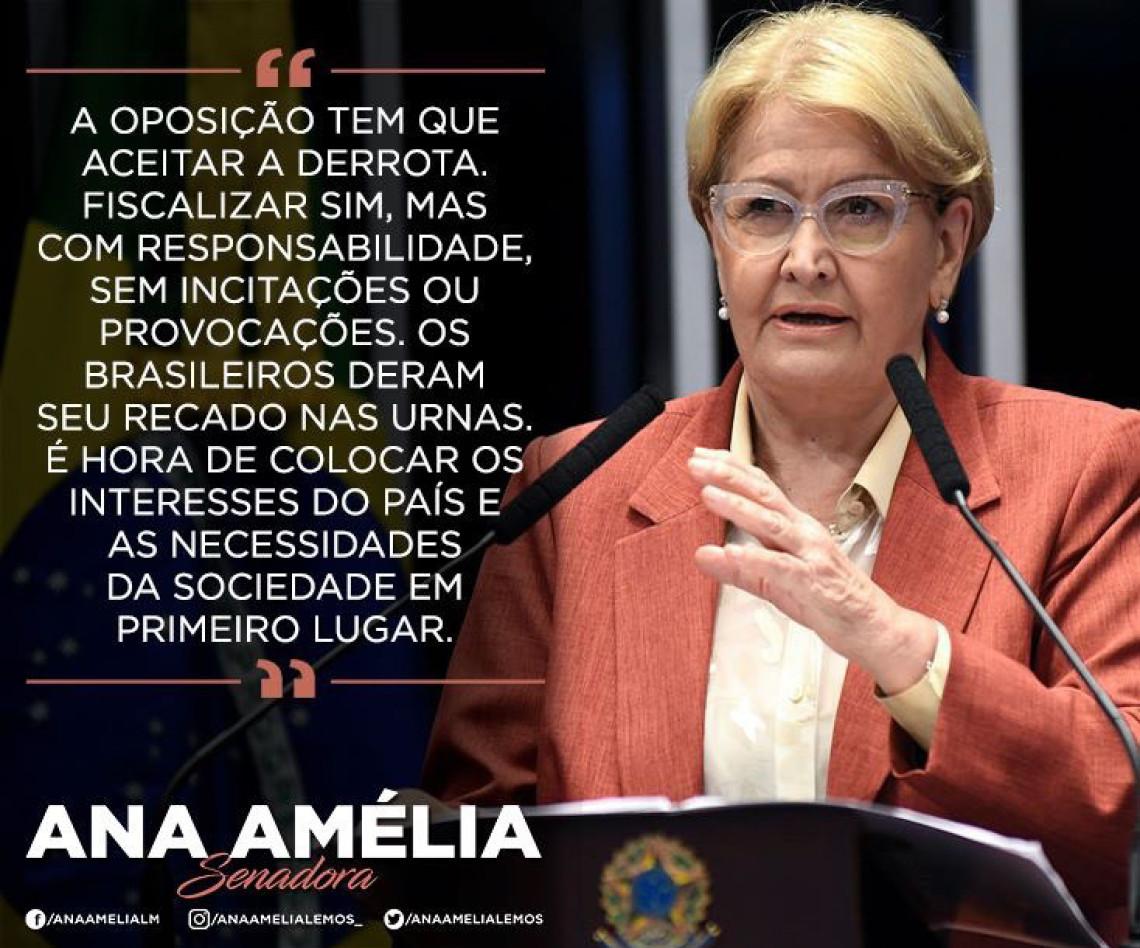 Ana Amélia pede tolerância e diz que é hora de lidar com os problemas do país