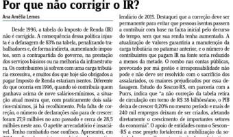 Jornal do Comércio: Por que não corrigir o IR?
