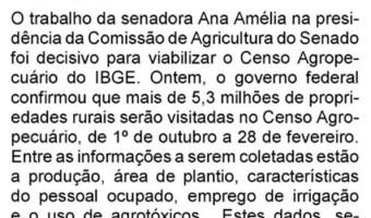 O Sul: Flavio Pereira - Ana Amélia teve papel decisivo para o Censo Agropecuário do IBGE