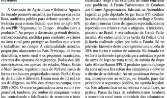 Jornal do Comércio: A insegurança no campo