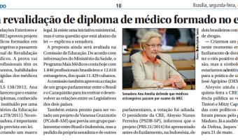 Jornal do Senado: Avança revalidação de diploma de médico formado no exterior