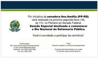 Sessão especial celebrará o Dia Nacional da Defensoria Pública