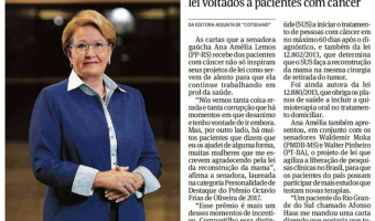 Folha de São Paulo: Senadora é premiada por projetos de lei voltados a pacientes com câncer