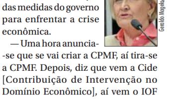 Jornal do Senado: Ana Amélia cobra clareza sobre medidas econômicas