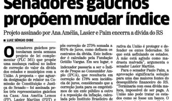 Correio do Povo: Senadores gaúchos propõem mudar índice