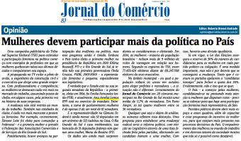 Jornal do Comércio: EDITORIAL - Mulheres devem participar mais da política no P