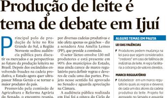 Zero Hora: Produção de leite é tema de debate em Ijuí