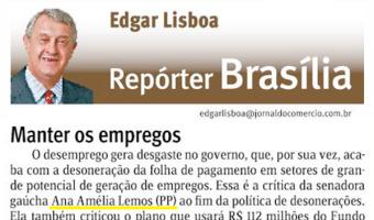 Jornal do Comércio: Edgar Lisboa - Manter os empregos