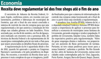 Jornal do Comércio: Receita deve regulamentar lei dos free shops até o fim do ano