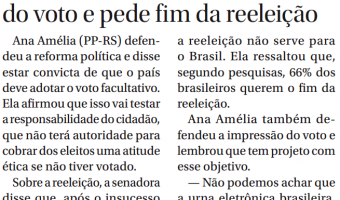 Jornal do Senado: Ana Amélia propõe impressão do voto e pede fim da reeleição