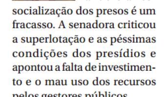Jornal do Senado: Ana Amélia defende projetos para sistema penitenciário do país