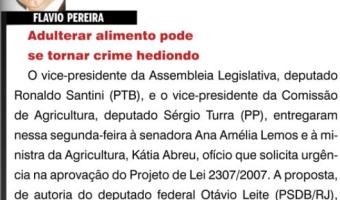 O Sul: Flavio Pereira - Adulterar alimento pode se tornar crime hediondo
